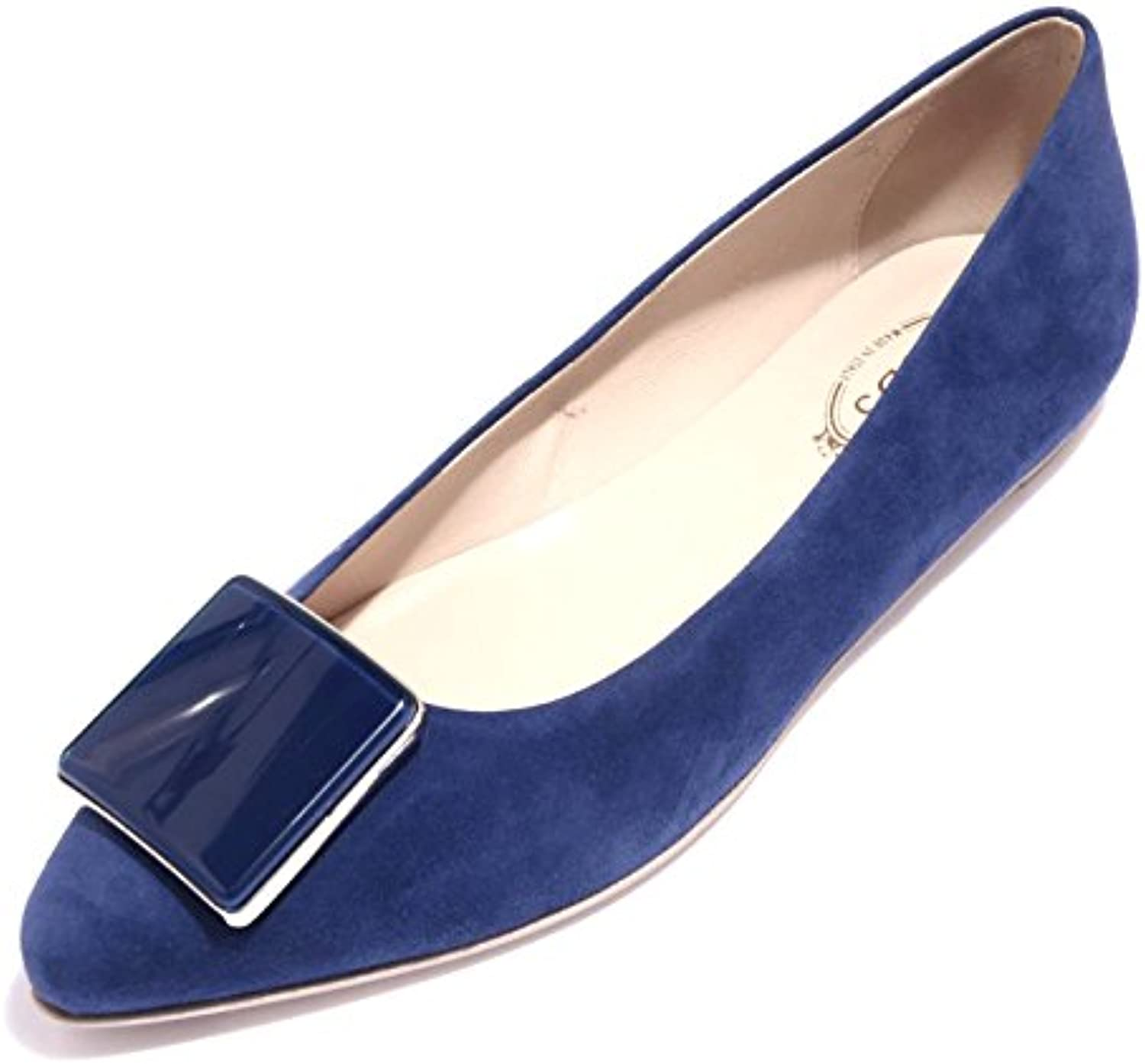 89718 ballerina blu TOD'S CUOIO PLACCA scarpa donna shoes women