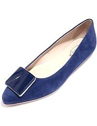 Tod s 89718 Ballerina Blu Cuoio PLACCA Scarpa Donna Shoes Women 49bcf7296e87