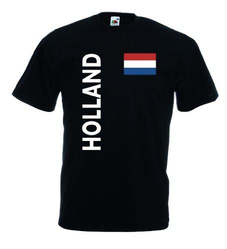 world-of-shirt Holland/Nederland Herren T-Shirt Trikot|schwarz XXXL