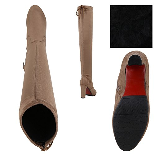 Stiefelparadies Damen Overknees Stiefel Veloursleder-Optik Schuhe Langschaftstiefel High Heels Boots Karneval Fasching Kostüm Polizistin Flandell Khaki Carlet