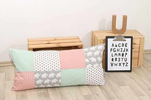 ULLENBOOM ® Patchwork Kissen 40x80 cm mit Füllung Elefant Mint Rosa (mit Reißverschluss, Bezug auch für Dekokissen geeignet, Motiv: Sterne, Patchwork)