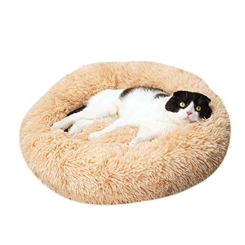Bendicx Haustierbett aus Plüsch, rund, warm, kuschelig, weiches Sofa, Katzenkissen, Schlafsack, orthopädische Entlastung und verbesserter Schlaf, rutschfeste Unterseite, gelb, 40 cm