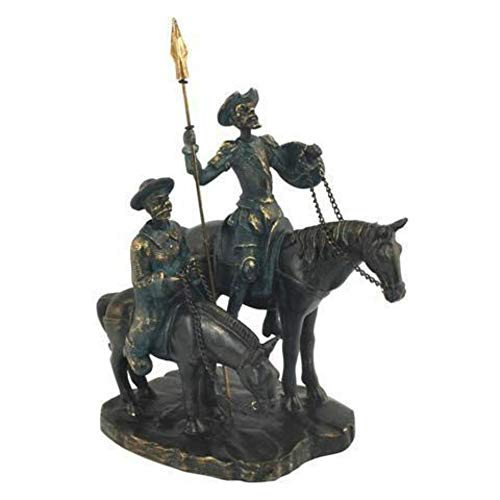 CAPRILO Resin Decorative Figure Don Quixote and Sancho with Horse Ornaments and Sculptures. Home Decoration. Original gifts. 22 x 12 x 15 cm.
