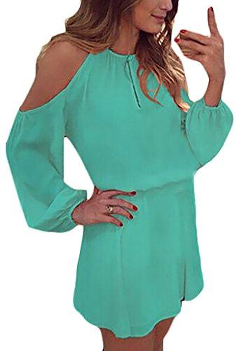 Donna Vestiti Estivi Eleganti Chiffon Di Camicia Vestito Casuale Puro Colore Backless Linea Ad A Swing Abito Da Giorno Partito Mini Manica Lunga Tunica Abiti Moda Giovane Corti Dress Verde