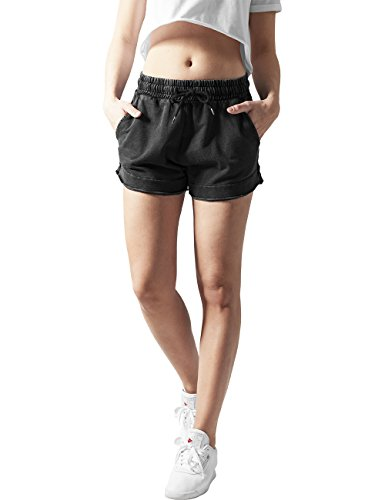 French Terry Classic Fit Pant (Urban Classics Damen Short Ladies Acid Wash Terry Hotpants, Grau (Darkgrey 94), 40 (Herstellergröße: L))