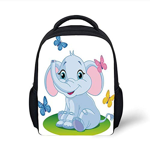 Kids School Backpack Nursery,Cute Baby Elephant Sitting on The Meadow in Spring Time Butterflies,Baby Blue Pink Green Plain Bookbag Travel Daypack - Spring Meadow Green