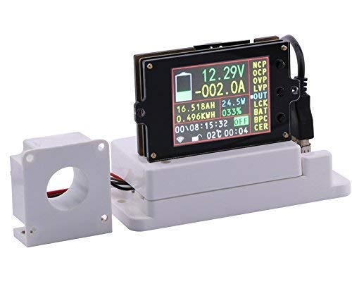 "DollaTek 2,4\"" LCD-Spannung Ampere Leistung Watt Coulomb Kapazität Zeitzähler Temperaturprüfer Detektor mit Hall-Sensor und Temperatursensor - 80V 100A"