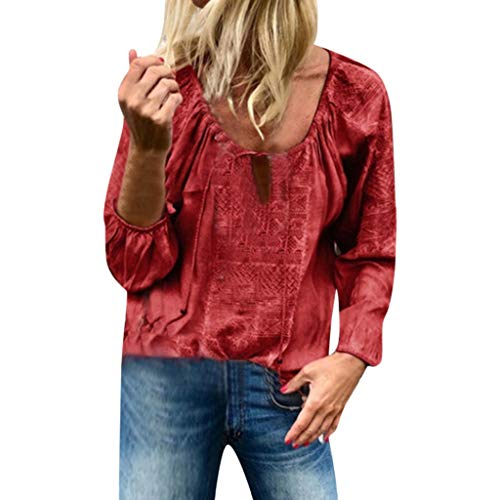 LILICAT Sommer Casual T-Shirt Damen Langarm Baumwolle Leinen Quaste Verband Patchwork T-Shirt Bluse Tops mit V-Kragen Freizeit Fun-T-Shirts