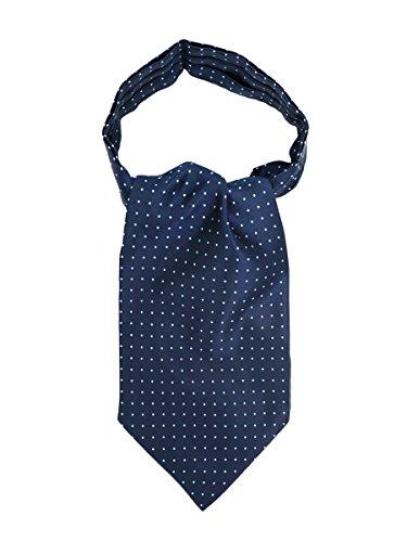 WANYING Herren Krawattenschal Ascotkrawatte Schal Cravat Ties Einfach Schick für Gentleman - Gepunket Dunkelblau