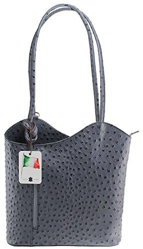 cuir d'autruche de la CTM Sac femmes, 28x30x9cm, 100% véritable cuir Fabriqué en Italie