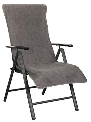 Brandsseller Fodera per sedie da giardino e sdraio in schiuma o coprisdraio –in 100% cotone–ca. 60x 135x 28cm–diversi colori, Tessile, Grau, 60 x 135 + 20 cm