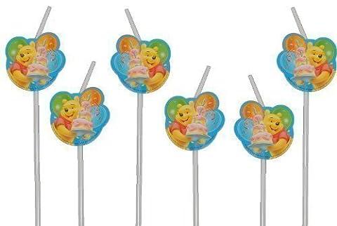 6 tlg. Set Trinkhalm Winnie the Pooh Geburtstag Kindergeburtstag Kinder Kind Bär Tigger Strohhalme (Party-feier Pinata)