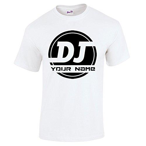 Herren Personalisiertes DJ Logo FÜGE DEINEN Namen EIN Musik T-Shirt Weiß L