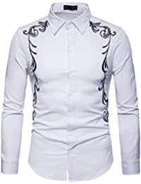 Luckycat Herren Herbst Winter Luxus Casual Gold Stickerei Langarm Shirt Top  Bluse Mode 2018 4175607afb