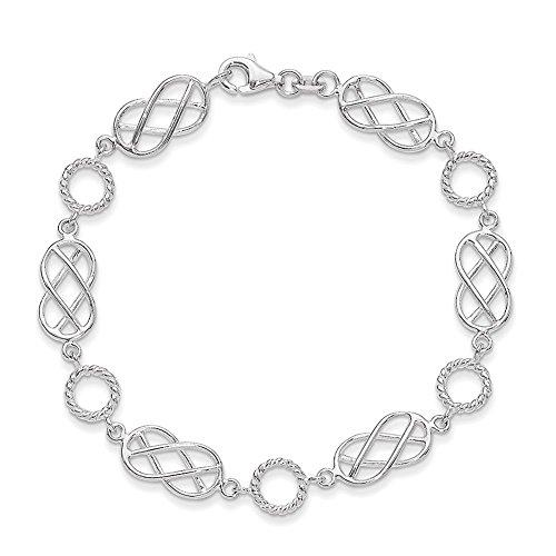 Lex & Lu Sterling Silber Brezel & Kreis Armband 18,4cm