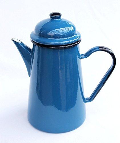 DanDiBo Kaffeekanne 578TB Blau 1,0 L emailliert 22 cm Wasserkanne Kanne Emaille Nostalgie Teekanne