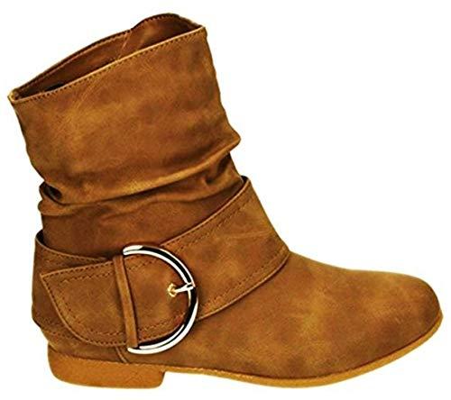 King Of Shoes Damen Stiefeletten Cowboy Western Stiefel Boots Flache Schlupfstiefel Schuhe 91 (40, Camel)
