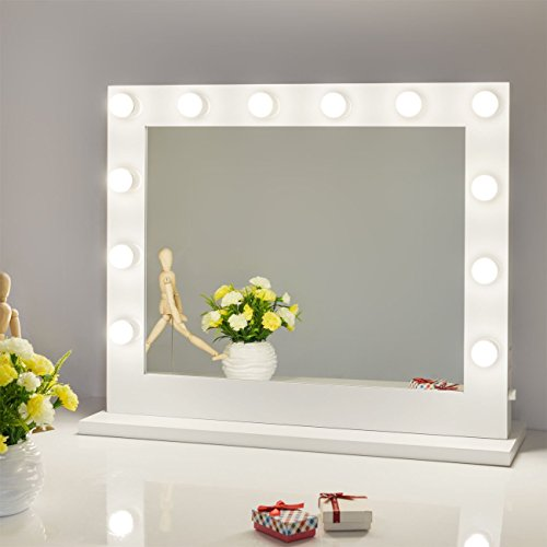 Hollywood vanity mirror amazon chende large white led illuminated hollywood lighted makeup vanity mirror with light dimmer free led dimmable bulbs wall mounted or tabletop mozeypictures Gallery