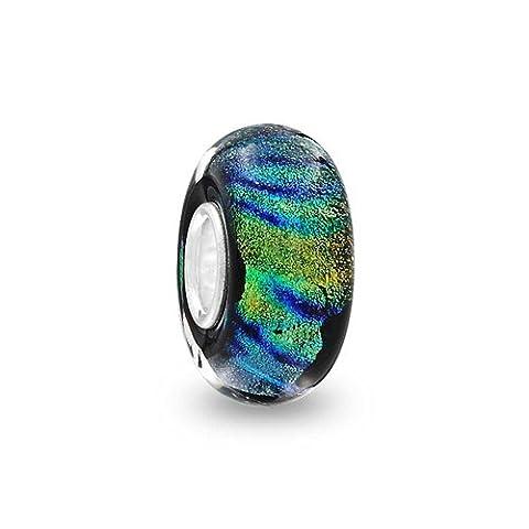 Bling Jewelry Simulated Turquoise Metallic Murano glass Lampwork Round Bead Charm .925 Sterling