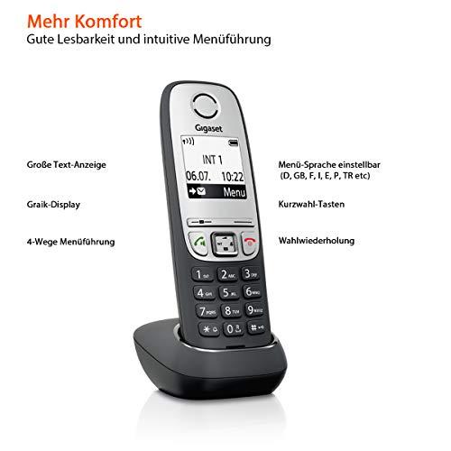 Gigaset A415A Trio Telefon – Schnurlostelefon / drei Mobilteile mit Grafik Display – Dect-Telefon mit Anrufbeantworter / Freisprechfunktion – Analog Telefon – Schwarz - 3