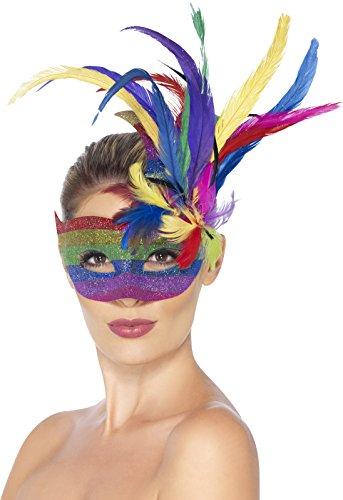 nmaske Regenbogen Karneval mit Federn (Usa Motto Party Kostüm Ideen)