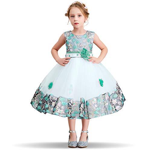 NNJXD Blumenmädchen Kleid gestickte Weihnachtshochzeit Geburtstagsfeier Tutu-Kleid für Mädchen Größe (130) 5-6 Jahre Grün