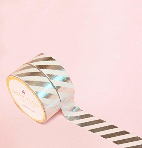 Streifen in Silber Foil Washi Tape for Planning • Planer und Organizer • Scrapbooking • Deko • Office • Party Supplies • Gift Wrapping • Colorful Decorative • Masking Tapes • DIY (15mm breit - 10 M) -