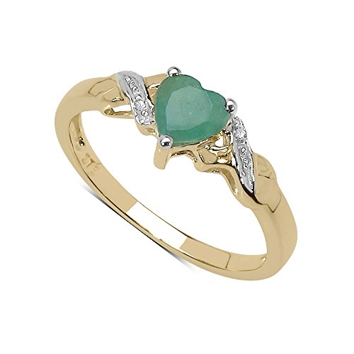 Diamant-Ring-Kollektion: 9ct Gold mit Smaragd herzförmige Diamant-Verlobungsring Schultern, Ringgröße 48 (15.3)