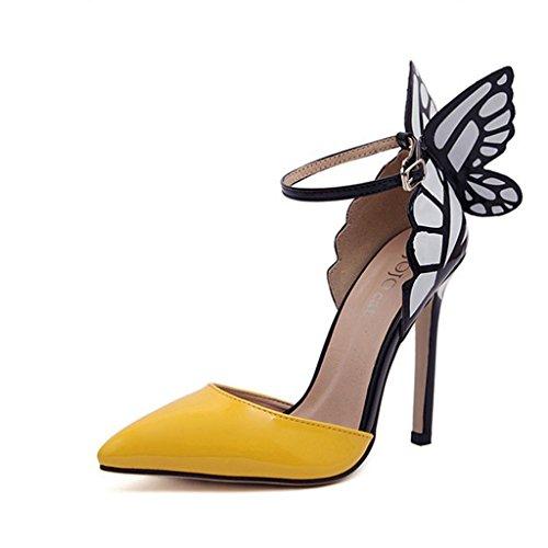 Single shoes - female aluk- primavera ed estate - in europa e america sexy scarpe col tacco alto a punta ali di farfalla (colore : giallo, dimensioni : 40)