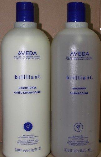 Aveda BRILLIANT Shampoo Conditioner Liter Set Combo Duo 1000ml