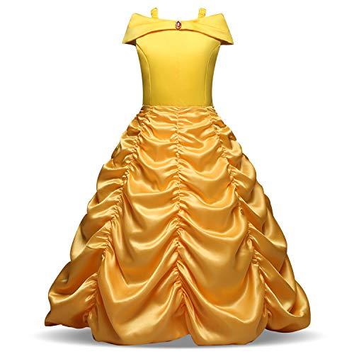 Yigoo ELSA Kleid Eiskönigin Prinzessin Kostüm Kinder Glanz Kleid Mädchen Weihnachten Verkleidung Karneval Party Halloween Fest, 130 (Körpergröße 115-125), Gelb