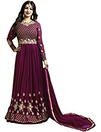 Aryan Fashion Women Georgette Purple Embroidered Semi Stitched Long Anarkali Suit(ERTY10474_purple_Free Size)