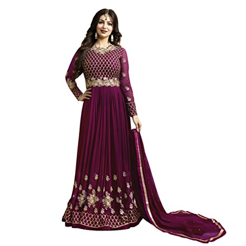 Ethnic Empire Women\'s Georgette Purple Embroidered Long Semi Stitched Anarkali Salwar Suits(Ethnic_ER10474_purple_Free Size)