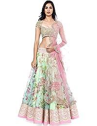 Kimberly Women's Net Lehenga Choli (SRL-33_Turquoise_Free Size)