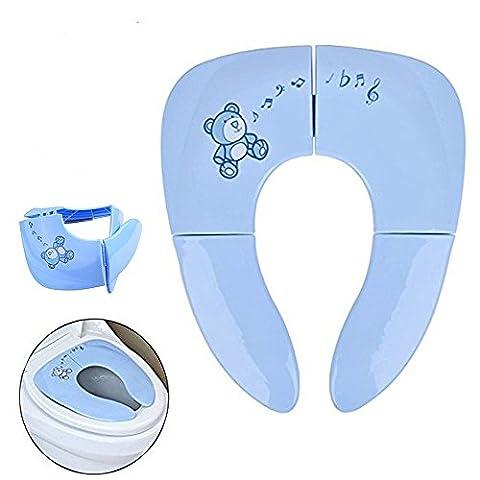 Faltbare Toilettensitze für Kinder Baby Laukowind Tragbarer Reise WC Sitz Kleinkind Töpfchen mit Aufbewahrungstüte Blau