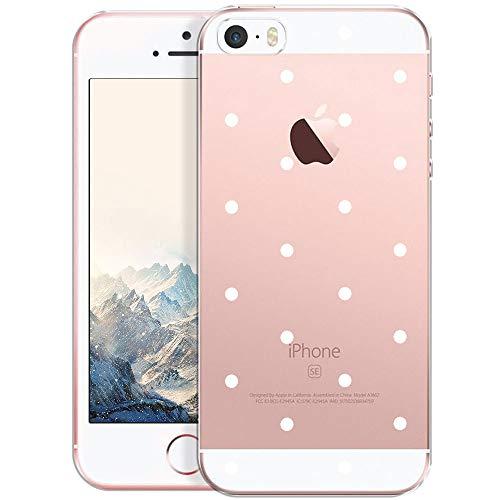 OOH!COLOR® Design Case für iPhone 5 / 5S / SE mit Motiv MPA147 weiß Punkte modisch stilvoll Silikon Hülle elastisch Schutzhülle Transparent Case Luxus Cover Slim Etui