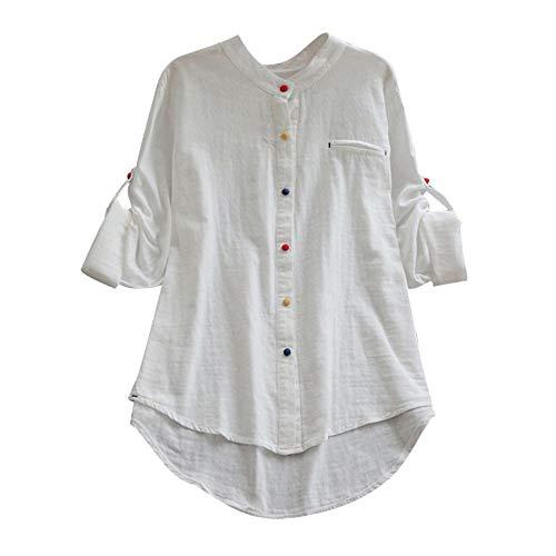 VJGOAL Damen Kleid, Lässige Retro-Baumwolle und Leinen Knopf Lange Tops Bluse Lose Lange Ärmel Mini Hemd Kleid (40, X-top-weiß)