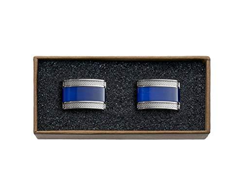 VALDERO® Herren Manschettenknöpfe - Men's Essentials in Box (Blau Perlmutt Schwarz) (1 Paar - Silbernes Metall, Blauer Stein) -