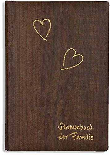 Stammbuch der Familie -Derno-, Holzoptik braun, Goldherzen, Ringmechanik, Familienstammbuch, Stammbücher