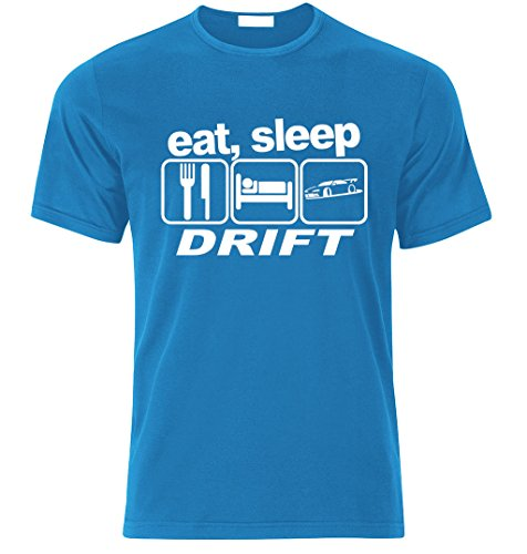 Eat sleep DRIFT T-shirt Best Fan Racing Speed Turbo size S-XXL Weihnachtsgeschenke Xmas AZURE BLAU