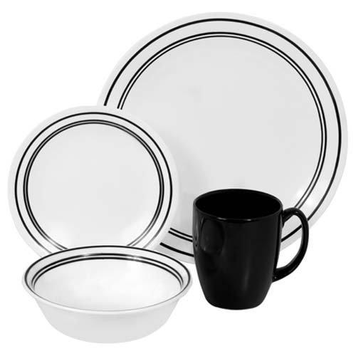 Corelle Geschirr-Set Classic Cafe aus Vitrelle-Glas für 4 Personen 16-teilig, splitter- und bruchfest, schwarz (Classic Corelle Cafe)