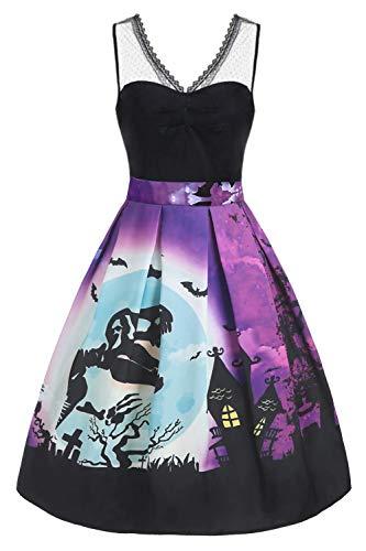 Hotelvs Vestido de Halloween Mujer 1950s Pin Up Vintage Retro...