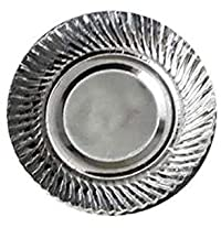 Silver Coated Disposable Paper Plate 6 Inches 50 Pieces Plate (Pack of 50)