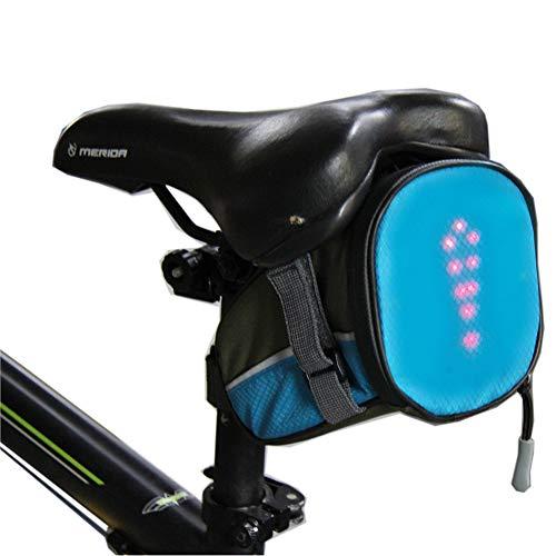 AK-BAG Fahrrad Satteltaschen mit LED Drahtlose Fernbedienung Sicherheit Blinker Licht, Mountainbike Outdoor Wasserdicht Sportrucksack Für Mountainbike, Rennrad und MTB und So Weiter,Blue