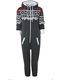 UNISEX MENS WOMENS AZTEC PRINT ONESIE ZIP UP ALL IN ONE HOODED JUMPSUIT S M L XL (MEDIUM, Charcoal Grey)