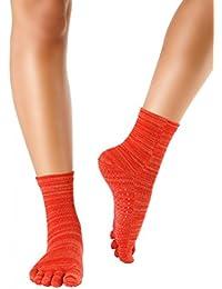 Knitido Wellness Massage - Calcetines de tobillo alto con dedos, Bienestar y Masaje, Size:UK 5.5-8;Mottled:mottled red