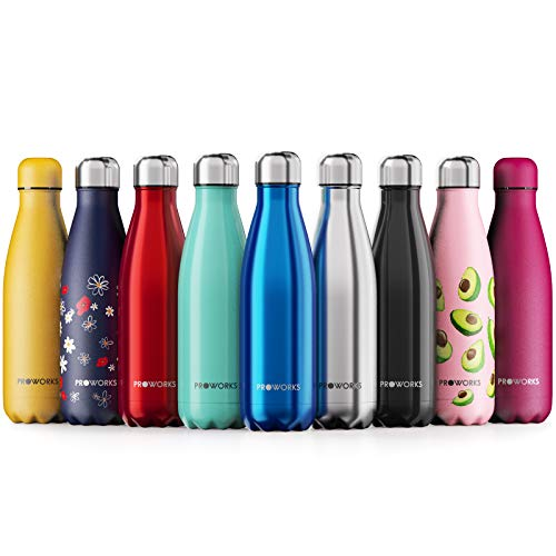 Proworks Edelstahl Trinkflasche   24 Std. Kalt und 12 Std. Heiß - Premium Vakuum Wasserflasche - Perfekte Isolierflasche für Sport, Laufen, Fahrrad, Yoga, Wandern und Camping - 500ml - Blau