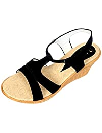 Neha Women's Brown Synthetic Sandals - B075DDPFD3