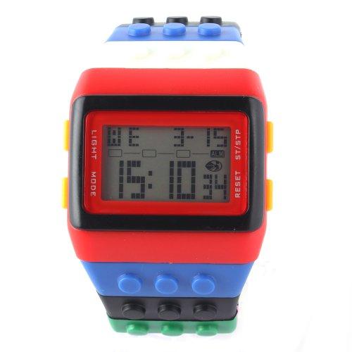 Orrorr shhors Neue Sport Digital LED Damenuhr Kinderuhr Binary Watch Lego Block Band Schwarz Rot Blau Grün