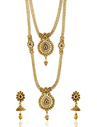 Reeti Fashions - Multicolour Stone Studded 2 Layer Necklace Set For Women (RF17_10C_65)